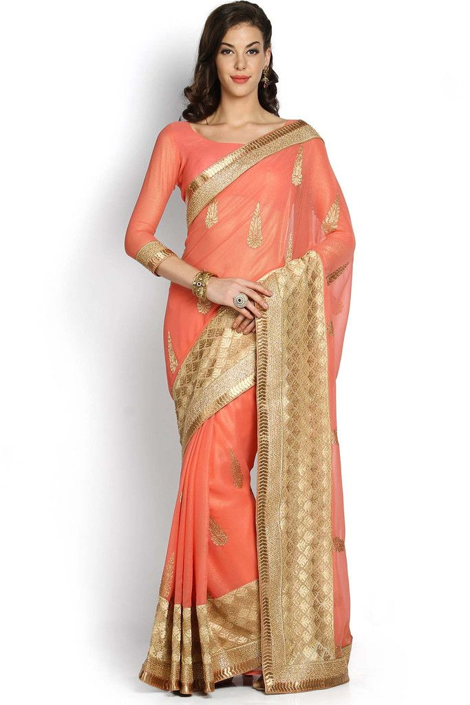 Peach & Gold-Toned Embroidered Viscose Saree -