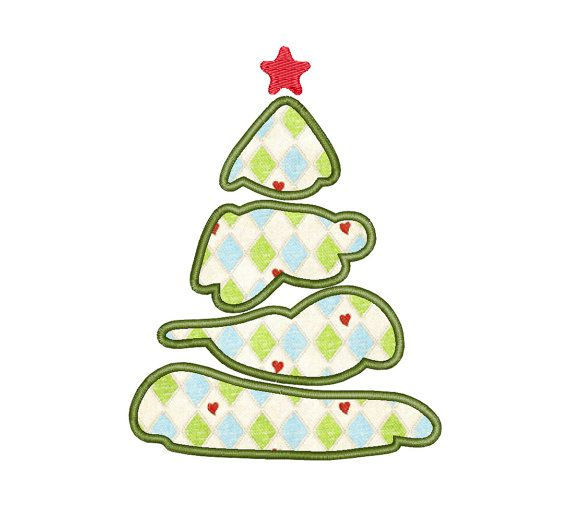Christmas tree - Applique - Machine Embroidery Design - Instant Download - Two sizes