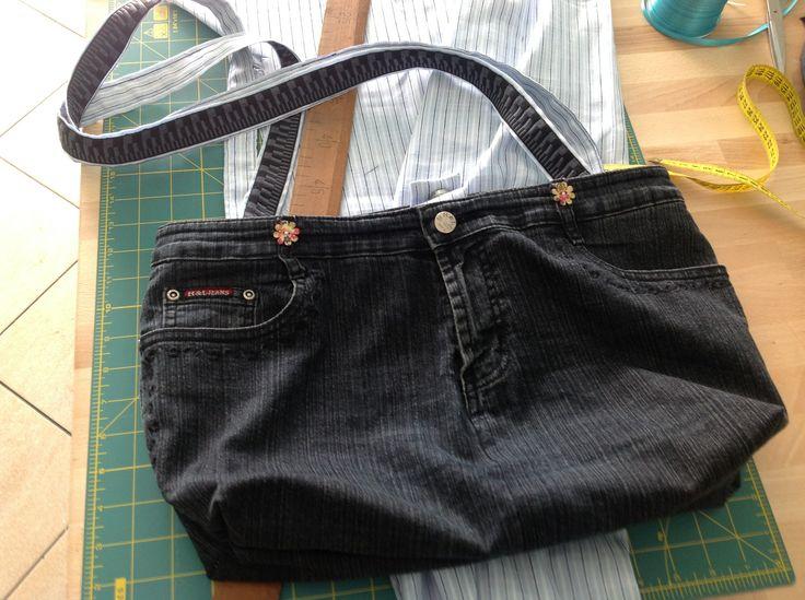 Handmade handbag from recycled jeans