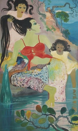 """""""Bathing by the River"""" , Hendra Gunawan (1918-1983) sold for USD 466,619 (by Christie's 2011)"""