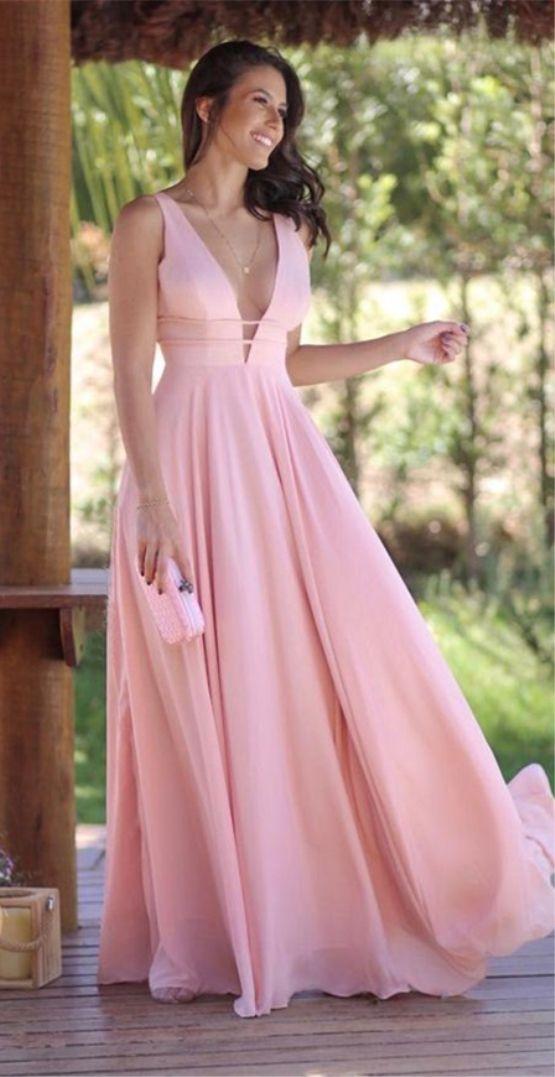 e34d37cc400e A-Line Deep V-Neck Floor-Length Pink Chiffon Prom Evening Dress in ...