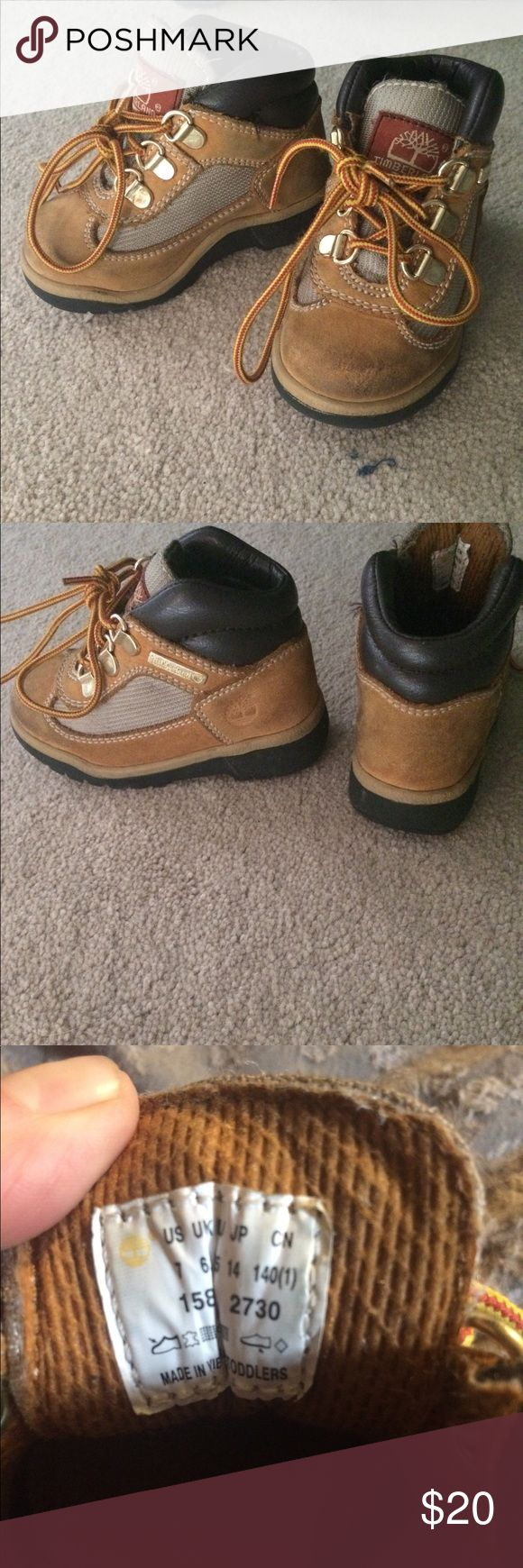 Toddler size 7 timberland boots Gently worn tan timberland boots, toddler size 7. They very clean with a little dirt on the front toe area but it can certainly come off with some scrubbing. Other wise no rips or stains and tread is like new on bottom! Timberland Shoes Boots