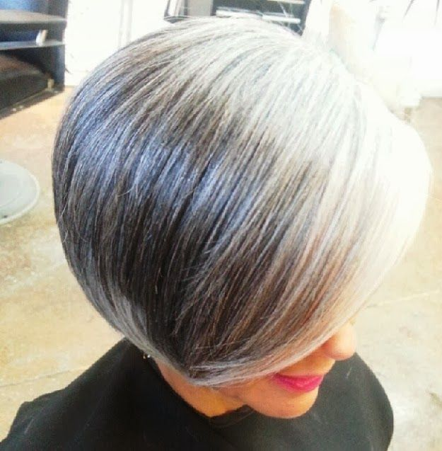 Beautiful silvered transitioning hair.  I am praying that mine grows out like this.  I love the other tones as well.