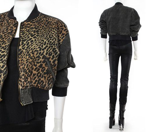 Vtg 90s Guess Denim Leopard Animal Print Zip Up by theindustry, $78.00