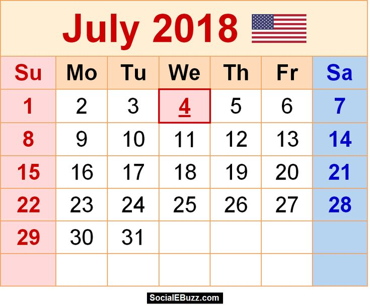 daily calendar 2018 printable