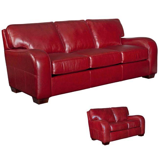 Broyhill 'Melanie' Red Leather Sofa/ Loveseat Set