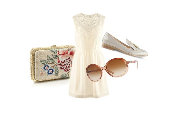 Pochette Accessorize, Abito H, occhiali da sole Vogue Eyewear e loafers Lella Baldi