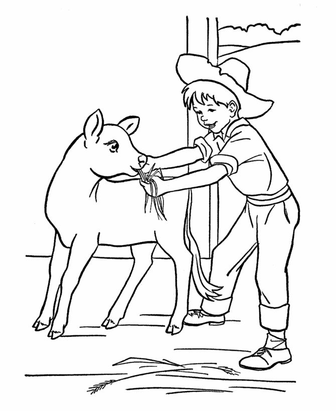 Farm Work And Chores Coloring Page Free Printable Feeding The Livestock Sheets