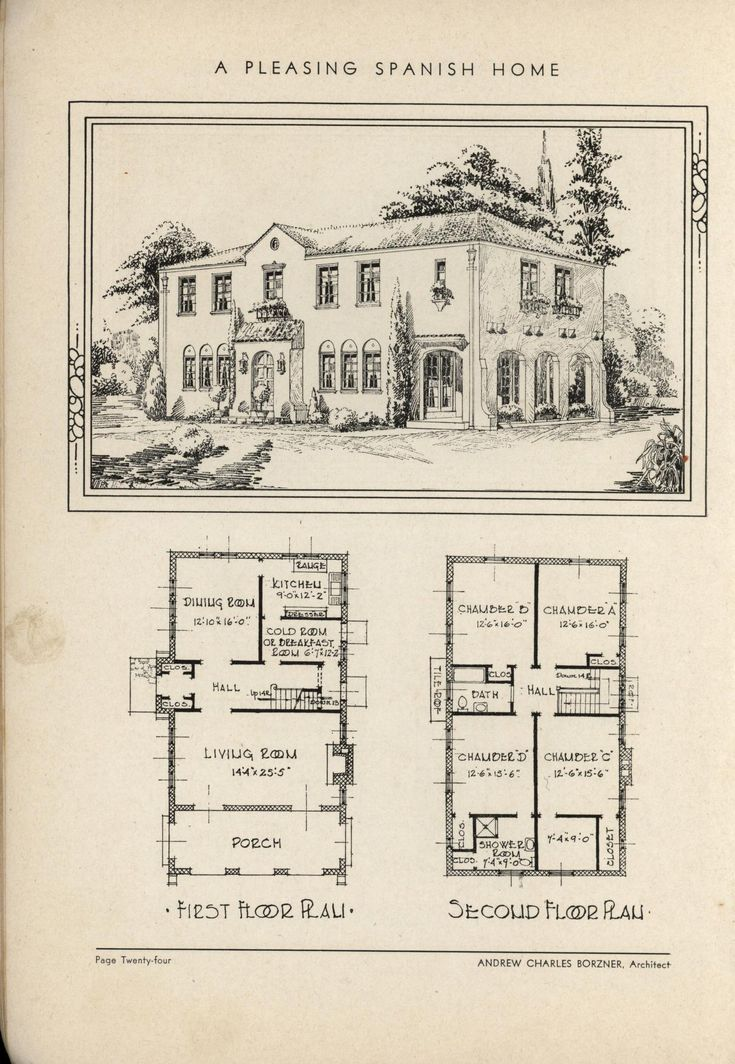 Vintage spanish revival house plans for Vintage floor plans