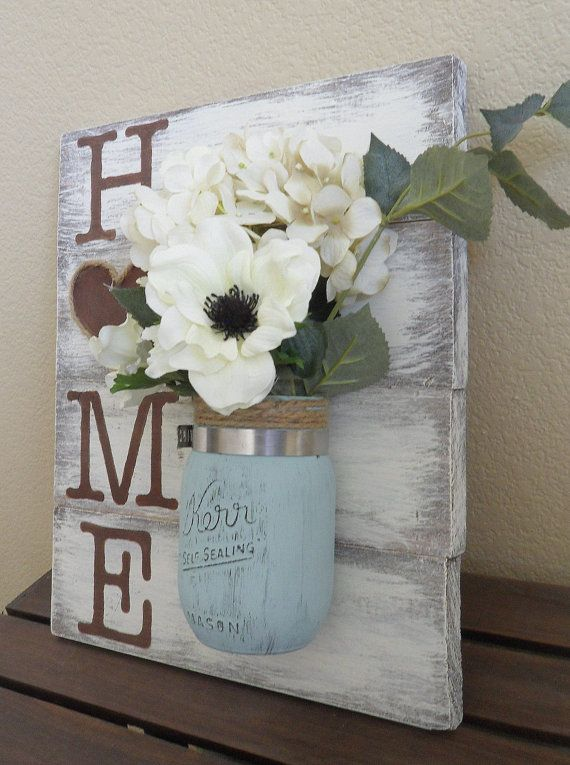 mason jar wood wall hanging home sign home decor by dodsondecor - Home Decor Diy