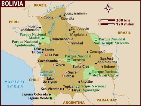 Bolivia está en América del Sur.  Quiero esquiar en los altos montes del Oruro Department,Bolivia.  Quiero ver vicuña en región de Apolobamba. Quiero caminar Salar de Uyuni en Potosí. Quiero bailar Los Macheteros a cualquier parte. Quiero comer Silpancho en  Cochabamba.