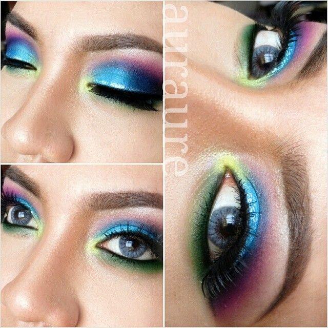 Colorful eye makeup @ auraure