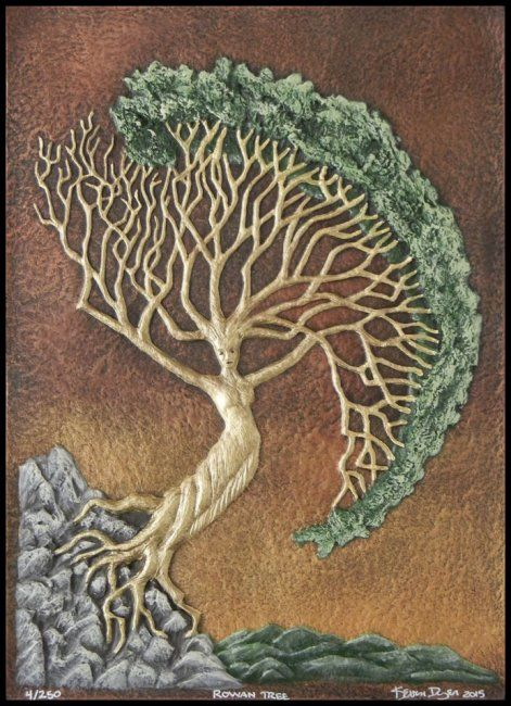 Rowan Tree - Celtic Zodiac sign for Jan. 21 to Feb. 17. In mythology, the first woman was made from the Rowan Tree. Rowan trees are believed to have magical properties that can protect from witchcraft (?) and misfortune. Small crosses made from rowan twigs were carried for such protection. Also known as the goddess tree the berries were fermented into wine spirits and ale.