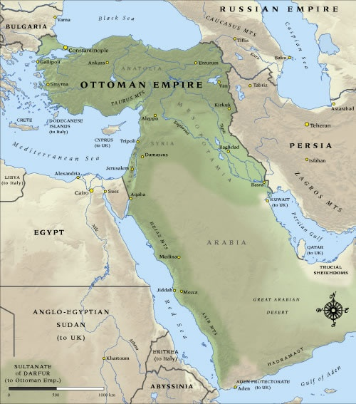 Map of Ottoman Empire in 1914