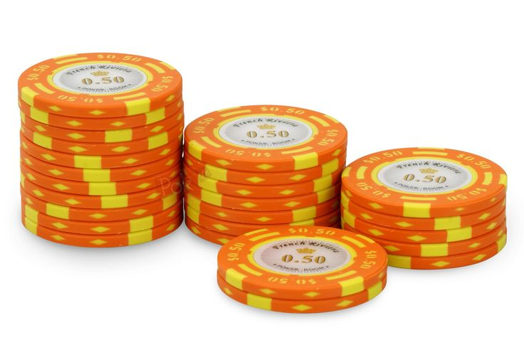 Rouleau de 25 jetons French Riviera $0,50 - Pokeo.fr - Recharge de 25 jetons de poker French Riviera $0,50 orange, en clay composite 14g.