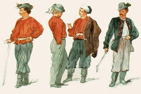 Designs for the Sokol kroj by Josef Manes 1862