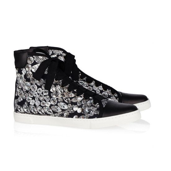 Girly, high-top sneakers are awesome with jeans and a tee! These ones are by Lanvin.