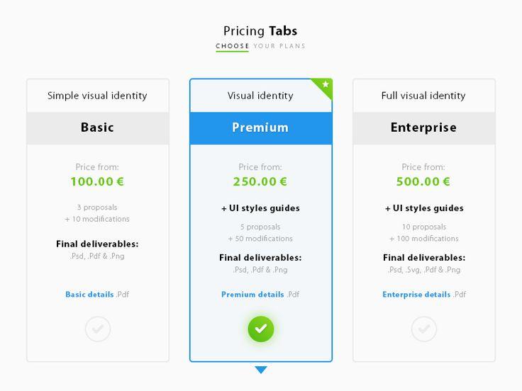 Pricing Tabs UI