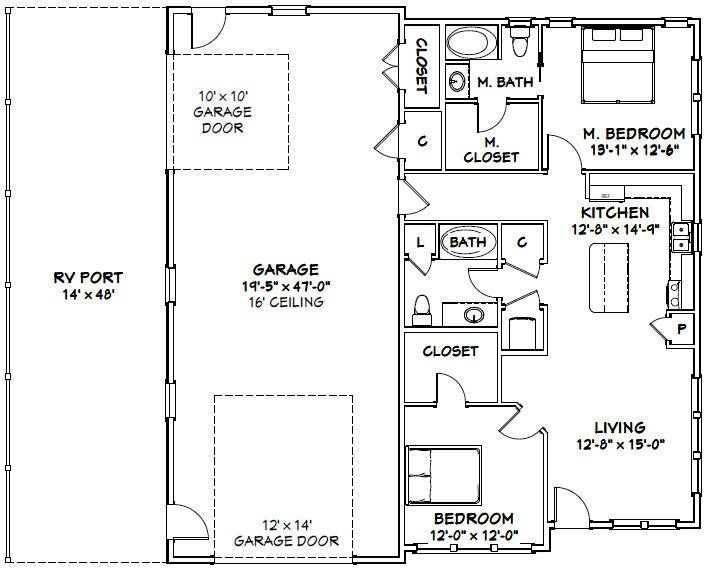 46x48 House 2 Bedroom 2 Bath 1 157 Sq Ft Pdf Floor Plan Instant Download Model 2a Garage House Plans Barndominium Floor Plans Barn Style House