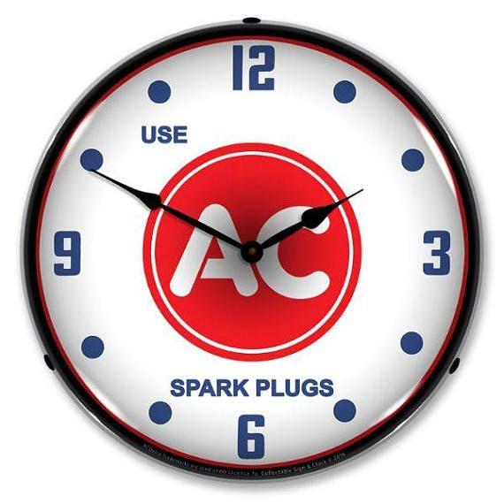 Antique Style Use Ac Spark Plugs Backlit Clock 129 99 Wall Clock Light Clock Advertising Clocks