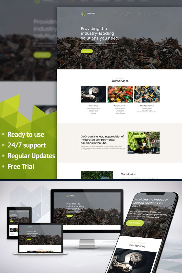 Gogreen - Garbage Services Premium Moto CMS 3 Template #65291