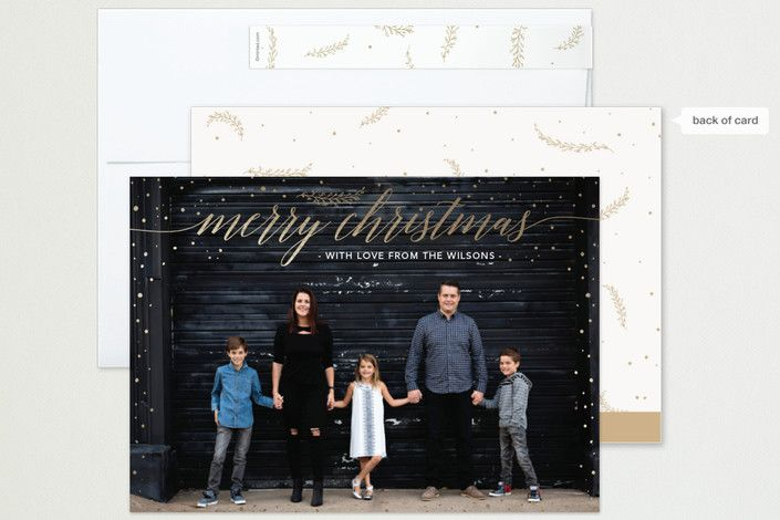 """""""Golden Snow Days"""" - Foil-pressed Holiday Cards in Snowfall by Rebecca Eccleshall."""