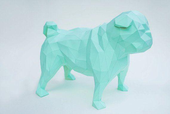 Paper Pug Dog Polygonal Statue Pug Lowpoly Pug Dog 3d Puzzle