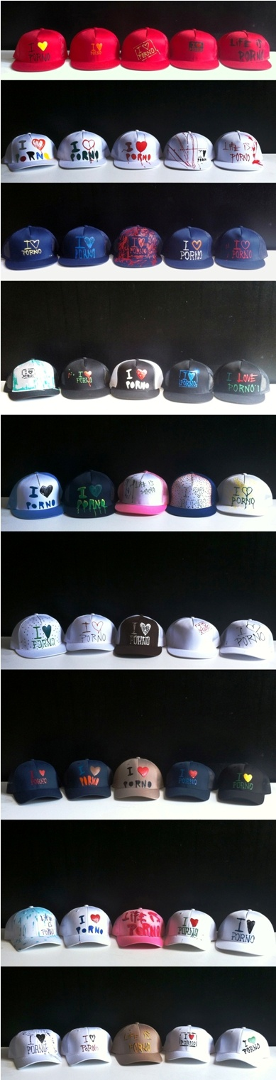 Life is Porno caps. Each one is hand painted by our streetartists. All of these are covering somebody´s head already, but you can get yours at http://www.lifeisporno.com/en/shop/category/10/hats/