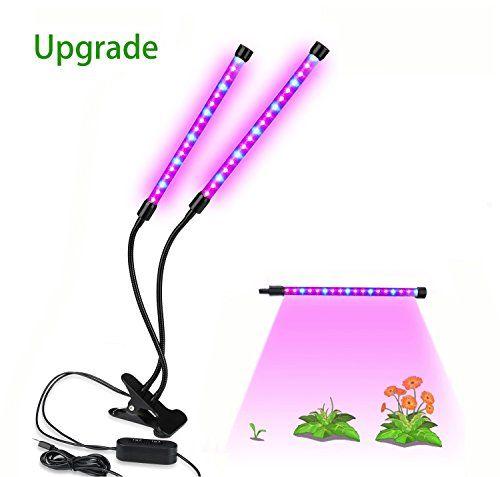 Dual Head Led Grow Light Balleen E 12w Dimmable 2 Levels Desk Clip Plant Growing Lamp With 360 Degree Flexible Gooseneck For Greenhouse Office Hydroponics Gard Led Grow Lights Led Grow Indoor