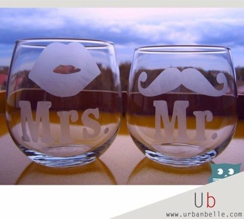 @Laura Dillingham...cute idea if not for the bride and groom, for attendants or parents, grandparents: Gift Ideas, Wedding Ideas, Weddings, Cute Glasses, Bride, Shower Gift, Stemless Wine Glasses, Wedding Gifts
