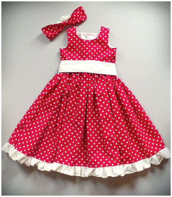 SALE Red & White Polka Dot Girls Dress by SewCreationsBoutique