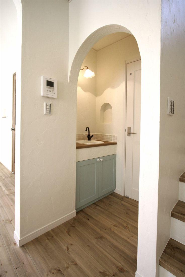 造作洗面台/狭小手洗い/ニッチ/ナチュラルインテリア/インテリア/注文住宅/施工例/ジャストの家/washstand/lavatory/powderroom/bathroom/vanity/natural/design/interior/house/homedecor