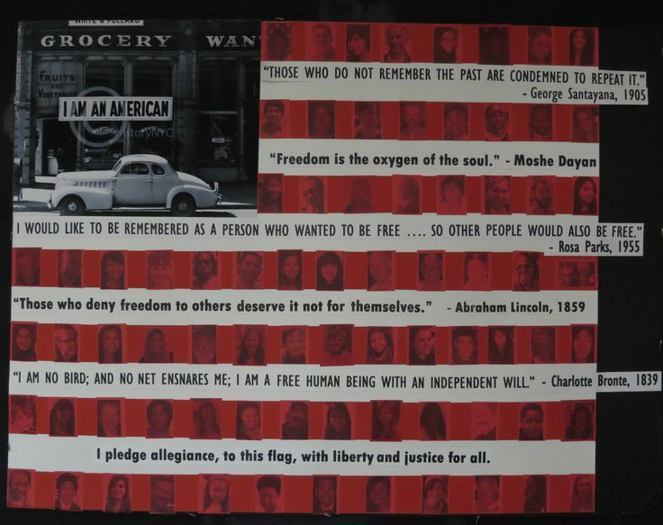 """""""I am an American"""", an homage to the work of Dorothea Lange, which was used as the field of stars in the American Flag. Art by Mary Michaelson. Artists statement on next pin."""
