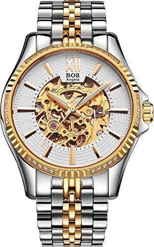 Bos-Angela automatico da uomo, anti-vento, scheletro meccanico, quadrante per orologio da polso, colore: bianco con fascia in acciaio INOX | trova prezzi e offerte per Orologio da polso uomo e donna