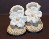 Newborn gehaakte sandaaltjes Beige De Gele Flamingo