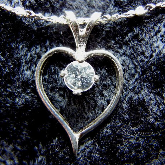 Heart pendant - Sterling silver with clear quartz accent