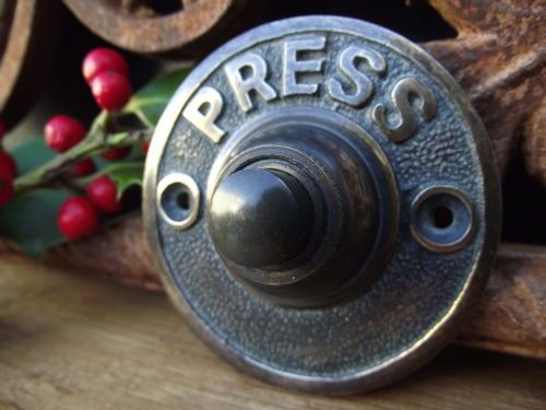 Victorian Style Round Brass Door Bell Press Push Knob Old Vintage Style  Hook Peg