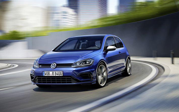 Télécharger fonds d'écran 4k, Volkswagen Golf R Lifting, 2018 les voitures, la route, le bleu de Golf, Volkswagen