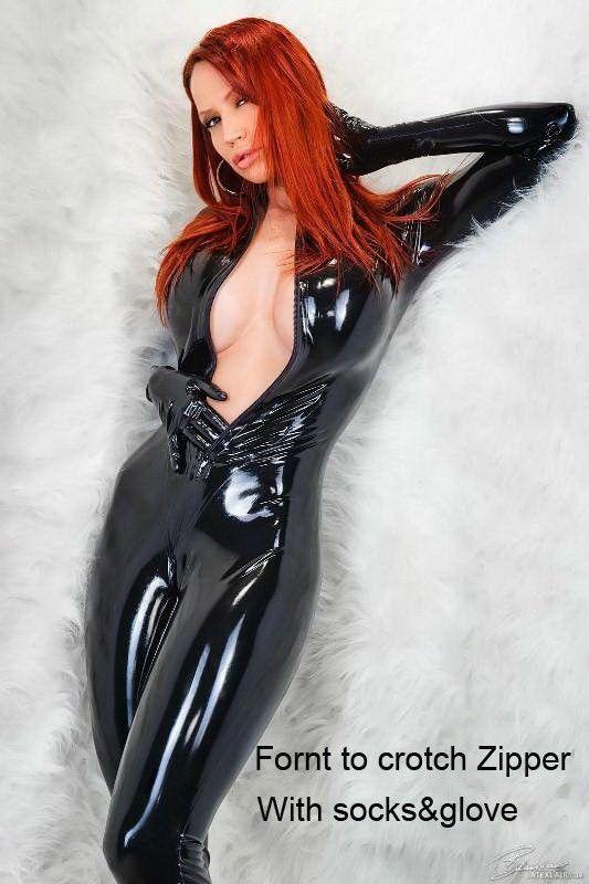 Plus Size S-2Xl Leather Gothic Catsuit Bodysuit Jumpsuit Pvc Clubwear Costume