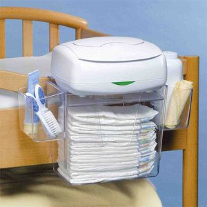 works on pack and play   Prince Lionheart Diaper Depot Organizer