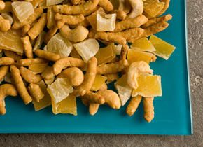 With dried mango and pineapple.