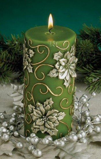 Green Poinsettia Flower Christmas Pillar Candles, Set of 6