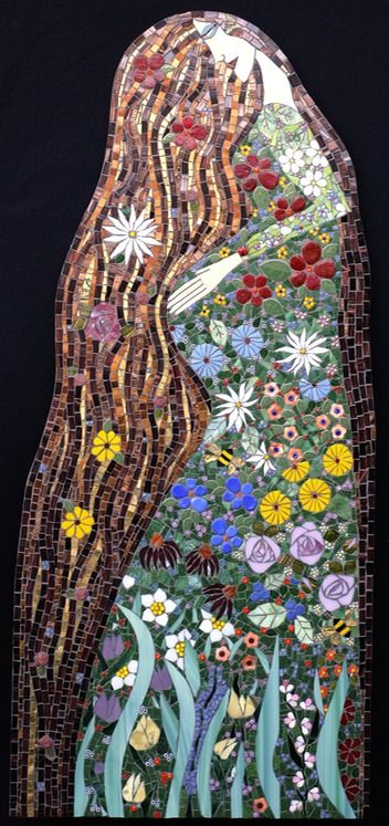 "Expectations | Irina Charny Mosaics.  22"" x 49""  glass, porcelain, beads, millefiori, gold  2010  Kaiser Hospital  Riverside, CA"