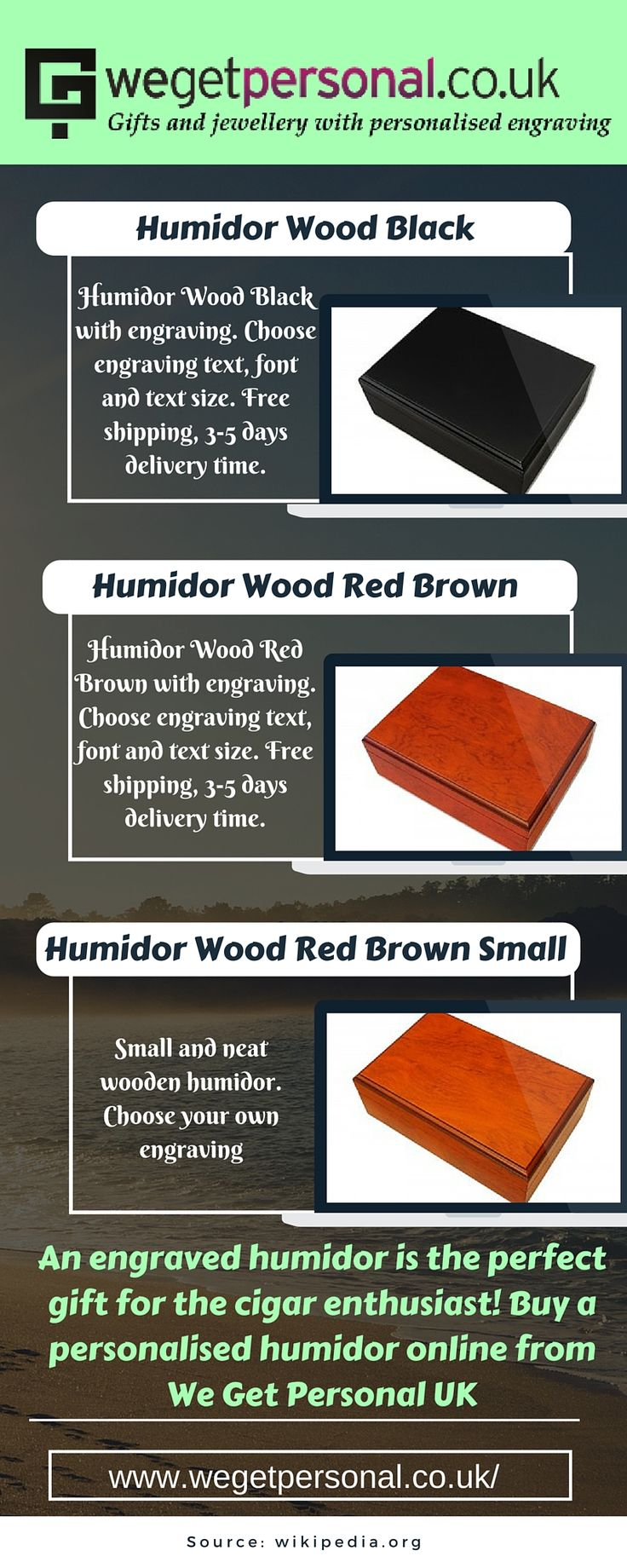 Are you searching a place for buy a different gift to your dear ones? Purchase Engraved Humidor from We Get Personal UK. It is an Ideal Gift for the Cigar Enthusiast. You can choose engrave option for Humidor and engrave with your choice. Free shipping, 3-5 days delivery time. #engravedhumidor #personalisedhumidor #wegetpersonalUK