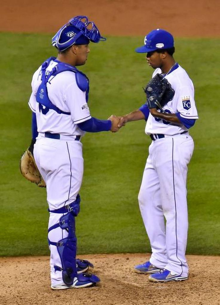 Kansas City Royals catcher Salvador Perez shook Kansas City Royals starting pitcher Yordano Ventura's hand on a visit to the mound in the seventh inning in game six of the World Series on Tuesday, October 28, 2014, at Kauffman Stadium in Kansas City, Mo.