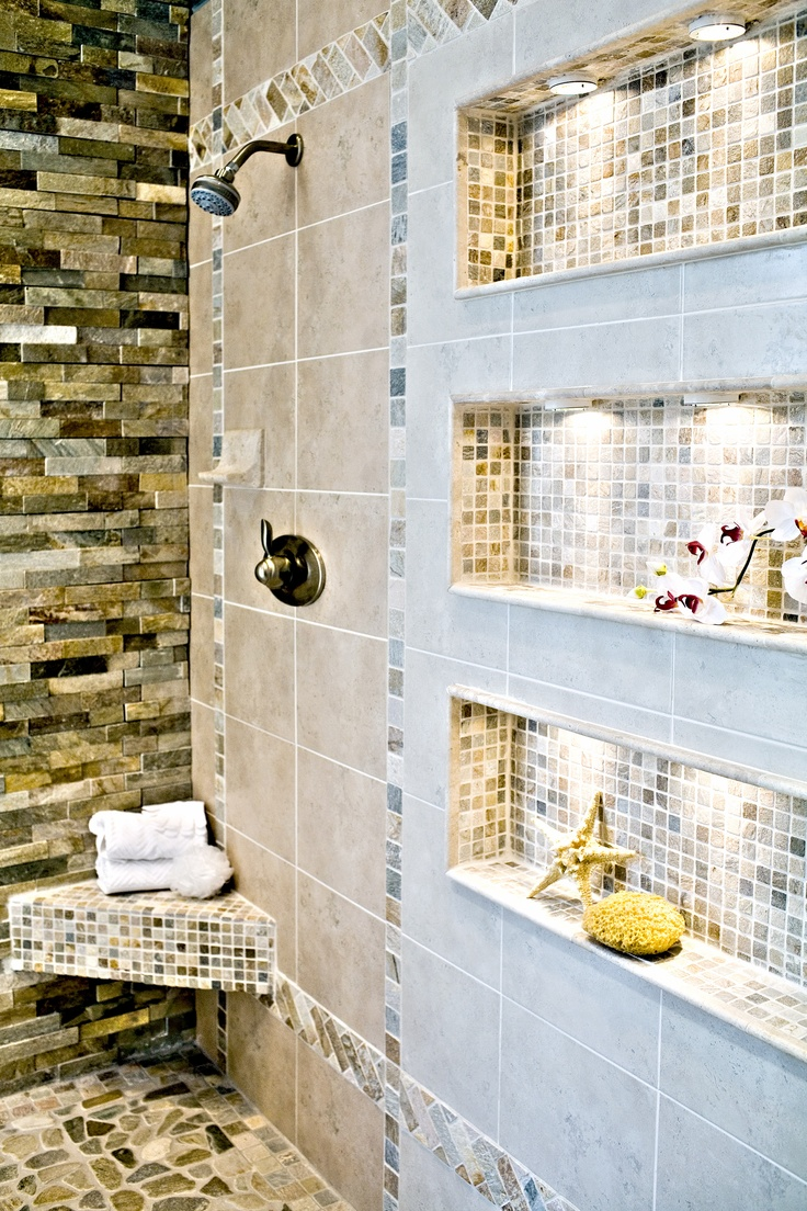 Spa bathroom - love the shelves!  #bathroom #decor