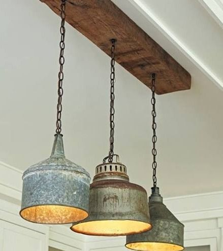 Kitchen: Vintage funnels made into pendant lamps. Calm and quiet. The best place to be in kitchen or dining room.