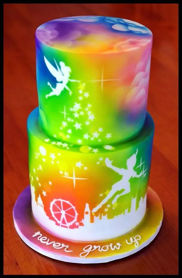 Airbrushed Peter Pan cake - For all you Airbrushing supplies, please visit http://www.craftcompany.co.uk/equipment/airbrushing.html