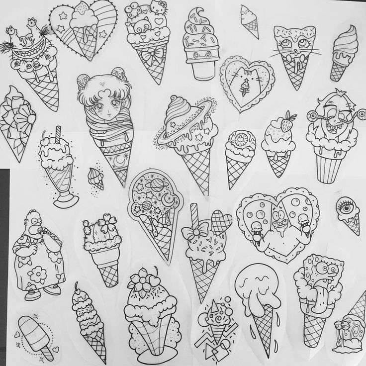kawaii icecream tattoo