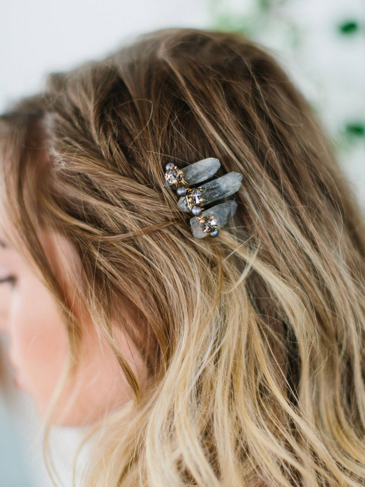 SIERRA smokey quartz edgy bohemian bridal comb, raw crystal boho wedding hair piece – Cuarzos